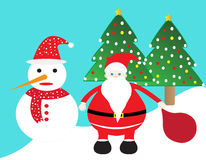 Santa claus and snowman Stock Images
