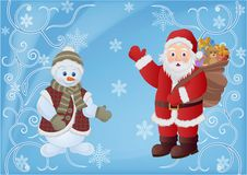 Santa Claus and Snowman. Christmas card for design use, vector illustration vector illustration