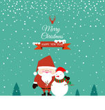 Santa Claus and Snowman on christmas day Royalty Free Stock Image