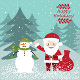 Santa Claus with the snowman. Christmas postcard Royalty Free Stock Photo