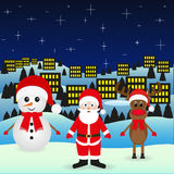 Santa Claus and Snowman Christmas reindeer Stock Image