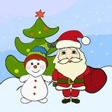 Santa Claus, Snowman and Christmas Tree.  Stock Photography