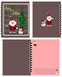 Santa Claus, snowman and christmas tree picture on notebook cover. Merry Christmas cartoon, Santa Claus, snowman and christmas tree picture on notebook cover Stock Image