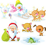 Santa Claus with snowman Royalty Free Stock Images