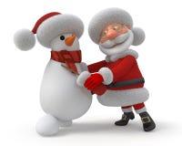 Santa Claus and snowman dance Royalty Free Stock Image