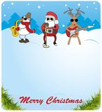 Santa Claus, snowman and deer saxophone plays th Stock Photography