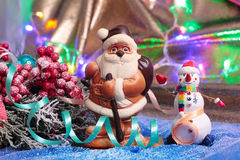 Santa Claus and snowman Stock Photos