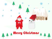Santa Claus,snowman and fir-tree for Christmas royalty free illustration