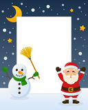 Santa Claus and Snowman Frame. Christmas vertical photo frame with a happy cartoon Santa Claus character and a snowman on the snow. Eps file available Royalty Free Stock Photos