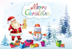 Santa Claus and snowman with gifts Royalty Free Stock Photography