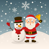 Santa Claus and Snowman with Hat Royalty Free Stock Photos