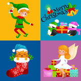 Santa Claus snowman hats, children enjoy winter holidays, elf with sweets and angel wings pipe gifts, Cat in sock, girl Royalty Free Stock Images