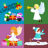 Santa Claus snowman hats, children enjoy winter holidays, elf with sweets and angel wings pipe gifts, Cat in sock, girl Royalty Free Stock Photography