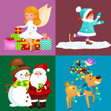 Santa Claus snowman hats, children enjoy winter holidays, elf with sweets and angel wings pipe gifts, Cat in sock, girl Stock Image