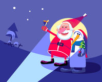 Santa Claus and snowman hitchhiking in the Christ Stock Photos