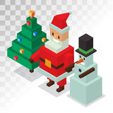 Santa Claus, snowman icons isometric 3d  vector. Santa Claus, snowman sometric 3d  icons vector illustration. Santa Claus cartoot people. Christmas 3d pixel art Royalty Free Stock Image