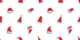 Santa Claus Snowman-Karikatur Muster des Weihnachtshutes lokalisierte nahtlose Fliesenhintergrund-Tapetenillustration lizenzfreie abbildung