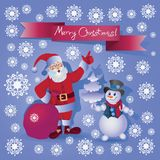 Santa Claus and the Snowman. Merry Christmas! Royalty Free Stock Photography