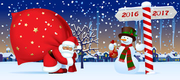 Santa Claus and Snowman with a New Year sign. Santa Claus carrying a big red sack, snowman and wooden sign showing the way to 2017 against the the winter country royalty free illustration