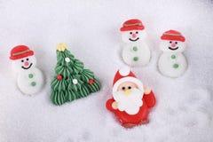 Socker Santa Claus och snowman Arkivbild
