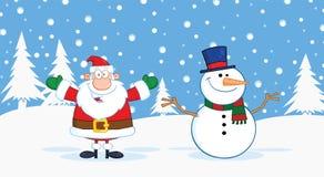 Santa Claus And Snowman With Open armar för att krama Royaltyfri Foto