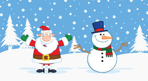 Santa Claus And Snowman With Open Arms For Hugging Royalty Free Stock Photo