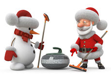 Santa Claus and snowman plays curling Stock Images