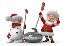 Santa Claus and snowman plays curling Stock Photo
