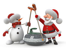 Santa Claus and snowman plays curling Royalty Free Stock Images