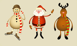 Santa Claus, snowman, reindeer Royalty Free Stock Photography