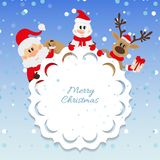 Santa Claus, snowman and reindeer Royalty Free Stock Images