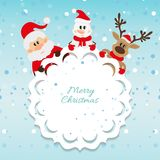 Santa Claus, snowman and reindeer blue background Stock Images