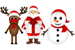 Santa Claus with snowman and reindeer cartoon  a gift Stock Image