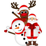 Santa Claus with snowman and reindeer cartoon  a gift vector Stock Image