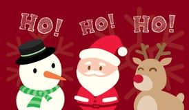 Santa Claus Snowman Reindeer Christmas Cartoon dessus  illustration de vecteur