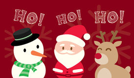Santa Claus Snowman Reindeer Christmas Cartoon on. Red background Vector Stock Image