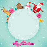 Santa Claus, Snowman And Reindeer On Circle Frame Royalty Free Stock Images