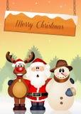 Santa Claus, snowman and reindeer. Illustration of Santa Claus, snowman and reindeer Stock Photography