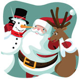 Santa Claus, snowman and Reindeer take a Christmas selfie Royalty Free Stock Image