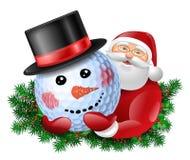 Santa Claus and snowman Stock Photos