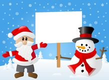 Santa claus and a snowman with sign in his hand stock illustration