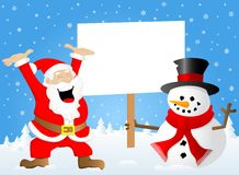 Santa claus and a snowman with sign in his hand Stock Photography