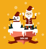 Santa Claus & snowman at snow land. flat character design. Stock Image