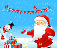 Santa Claus and Snowman Stock Photography