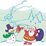 Santa Claus and Snowman Stock Image