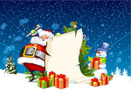 Santa Claus and snowman standing next to scroll Stock Photo