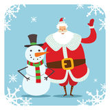 Santa Claus and snowman vector illustration. Santa Claus red hat, cartoot snowman . Santa Claus traditional costume. Snowman illustration. Santa Claus snowman stock illustration