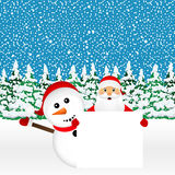Santa Claus and snowman with white blank banner Royalty Free Stock Photo