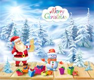 Santa Claus and snowman on a winter background Stock Photos