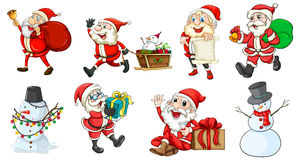 Santa Claus and the snowmen Royalty Free Stock Photo